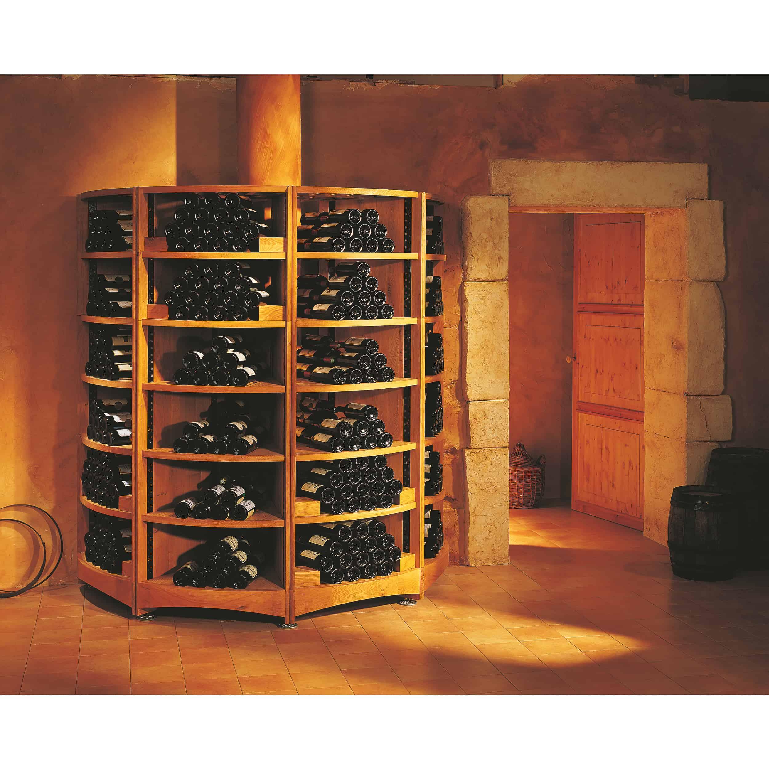 מדפים לאחסון יין מעץ מלא למרתף יינות